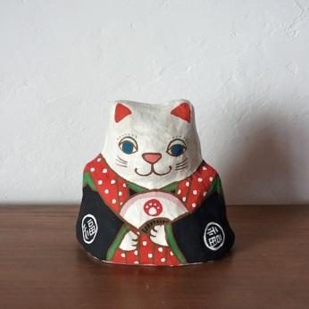 PM-02R 張り子 左扇猫 赤 Cat of papier-mache Size:W16×D13cm×H16cm/Material:Japanese paper  ¥5,400+tax