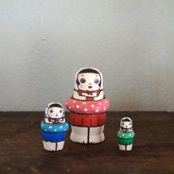 MS3-20 MATRYOSHKA 3sets スイミングガール Swimming Girl  Size:7cm/Material: wood  ¥6,500+Tax