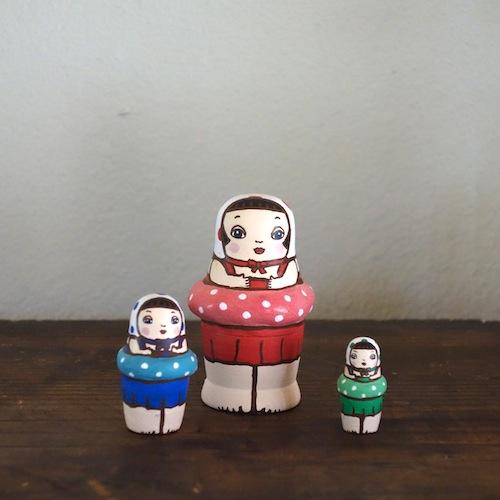 MS3-20 MATRYOSHKA 3sets スイミングガール Swimming Girl  Size:7cm/Material: wood  ¥6,500+Tax