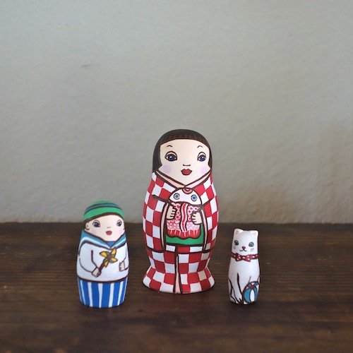 MS3-21 MATRYOSHKA 3sets 夏祭り Summer Festival  Size:7cm/Material: wood  ¥6,500+Tax