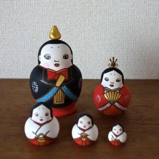 MLD5-2 Matryoshka 5sets 雛 Hinadoll  Size:H12cm/wood , metal , stone powder clay  ¥15,000+Tax