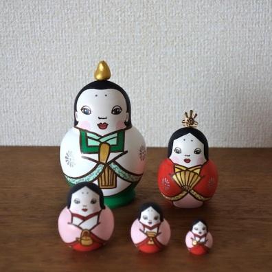 MLD5-3 Matryoshka 5sets 雛 Hinadoll  Size:H12cm/wood , metal , stone powder clay  ¥15,000+Tax