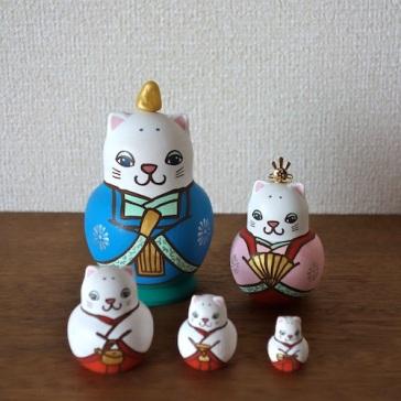 MLD5-4 Matryoshka 5sets 猫雛 Hinadoll  Size:H12cm/Material: wood  ¥15,000+Tax