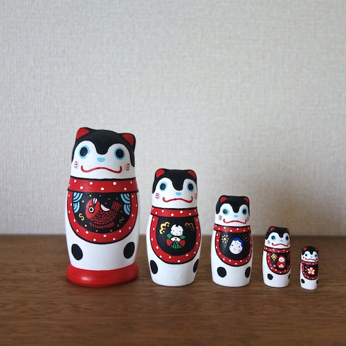 MM5-9 Matryoshka 5sets ハリコ犬 Harikoinu  Size:11.5cm/Material: wood  ¥9,500+Tax
