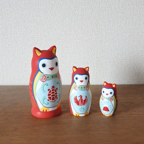 MATRYOSHKA 3sets 赤みみずく Red Owl  Size:H11.5cm  Material: wood  ¥7,500+tax  MM3-2