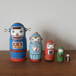 ML5-8 MATRYOSHKA 5sets ロボット  Robot  Size:H16.5cm /Material: wood,metal fittings  ¥18,000+Tax