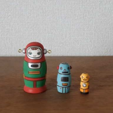 MS3-22 MATRYOSHKA 3sets ロボット Robot  Size: H7cm /Material: wood , metal fittings  ¥6,500+Tax