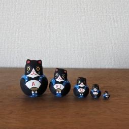 MSD5-9b MATRYOSHKA 5sets ありがとう福猫 Arigatou Cat  Size:H6cm /Material: wood  ¥4,200+TAX