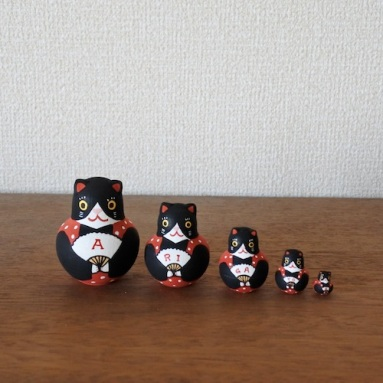 MSD5-9r MATRYOSHKA 5sets ありがとう福猫 Arigatou Cat  Size:H6cm /Material: wood  ¥4,200+TAX